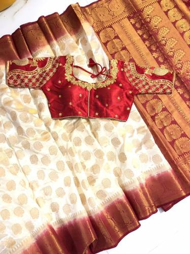 Cream & Maroon Nylon Silk With Rich Pallu Saree And Designer Full Stitched Banglori Silk Blouse For Party Wear-VT3062116H