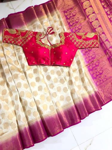 Blooming Cream & Pink Nylon Silk With Rich Pallu Saree And Ready Made Banglori Silk Blouse For Wedding Wear-VT3062116I