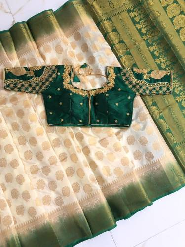 Cream & Green Nylon Silk With Rich Pallu Saree And Full Stitched Banglori Silk Blouse For Wedding Wear-VT3062116J