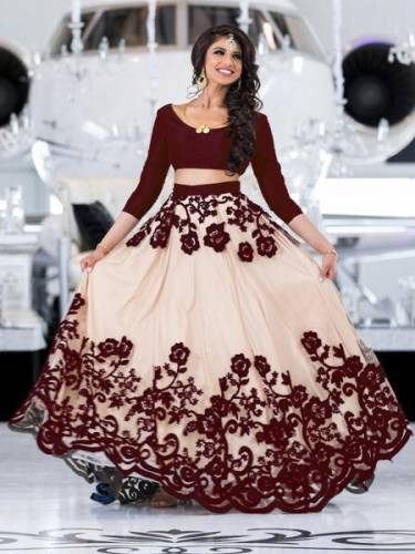 Admiring Cream Brown Net Lehenga Choli For Function Wear