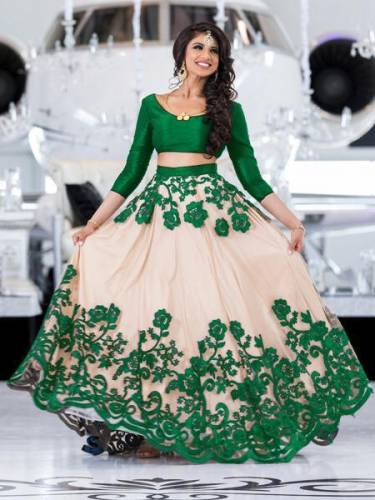 Admiring Cream Green Net Lehenga Choli For Party Wear