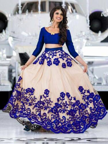 Buy Cream Royal Blue Designer Chain Work With Net Lehenga Choli And Beautiful Banaglori Silk Blouse For Function Wear-VT1159DVD9022E