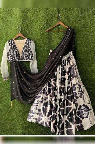 Buy White Black Designer Crap Silk With Heavy Embroidered Work And Digital Print Lehenga Choli For Wedding Wear-MINIAB117A