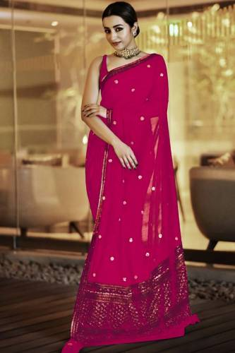 Admiring Pink Georgette Zari Embroidered Work Designer Saree