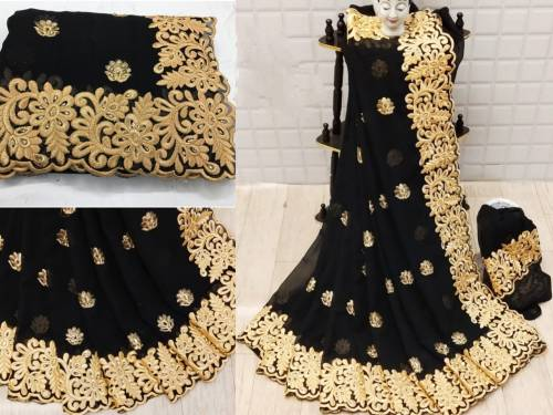 Black Pure Georgette Gold Zari Embroidered Saree Blouse For Function Wear