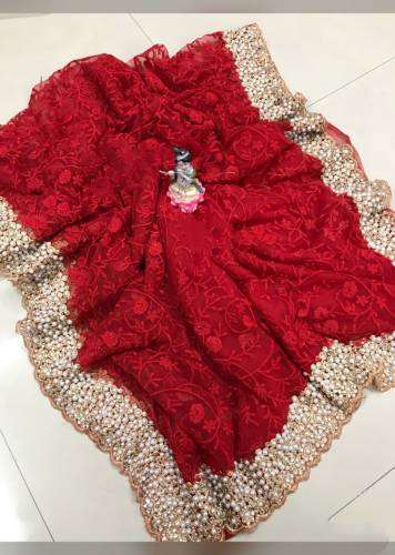 Admiring Red Soft Net Embroidered Fancy Saree For Wedding