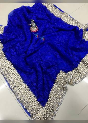 Admiring Royal Colour Soft Net Embroidered Fancy Saree For Wedding