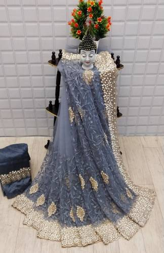 Admiring Grey Soft Net Embroidered Fancy Saree Design Online