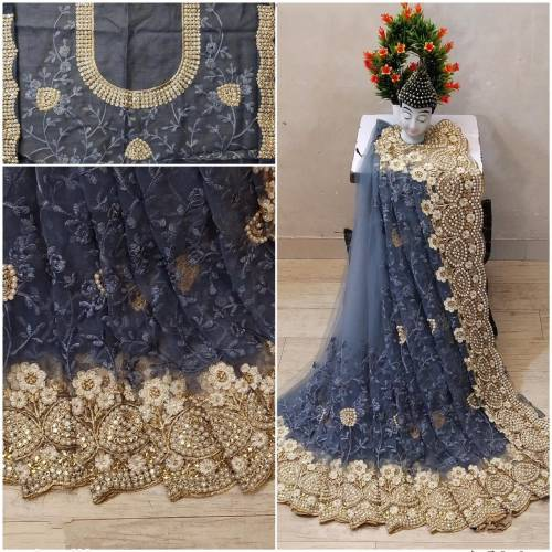 Admiring Grey Soft Net Embroidered Fancy Saree Blouse For Women