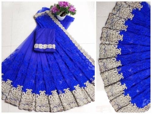 Admiring Royal Colour Soft Net Fancy Saree Blouse Online In India