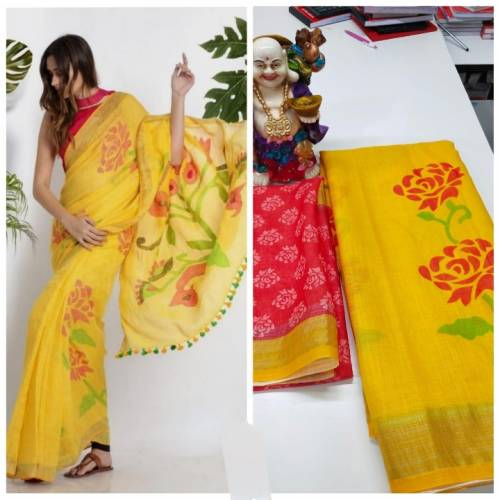 Fantastic Yellow Linen With Digital Print Wedding Wear Saree