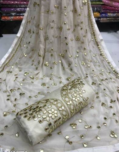 Beautiful Off White Colour Gota Patti Work Party Wear Salwar Suit