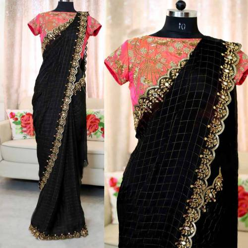 Black Chanderi Cotton Chex With Embroidered Work With Pearl Work Saree-VT2103101A