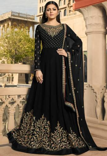 Black Colored Georgette Embroidered Stone Work Salwar Suit-VT3048223B