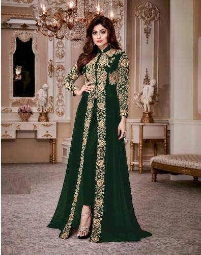 Amazing Green Color Georgette Embroidered Straight cut Salwar Suit