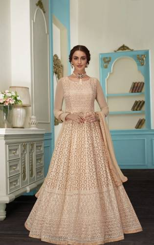 Cream Colored Georgette Embroidered Cotton Thread Sequence Work-VTSRITEX109A