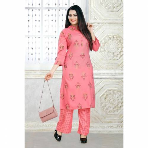 Excellent Light Pink Color Function Wear Ready Made Designer Rayon Printed Hand Work Plazo Kurti