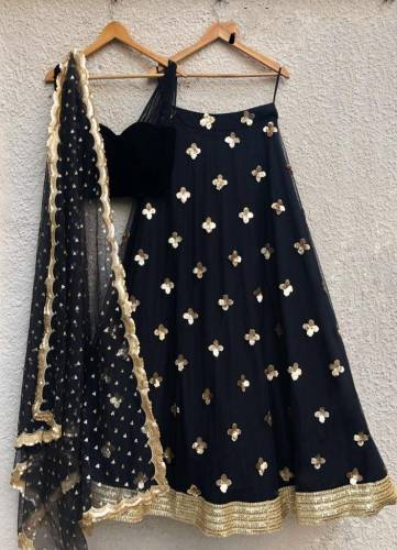 Classy Black Net Embroidered Sequence Work Lehenga Choli-VT2005101A