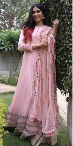 Classic Light Pink Georgette With Embroidered Salwar Suit