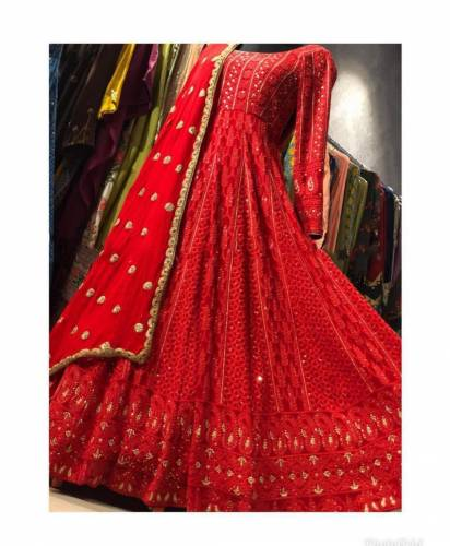 Classic Red Georgette With Chain Stitch Work Salwar Suit VT
