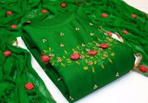 Beautiful Green Glace Cotton With Moti Multi Work Salwar Suit