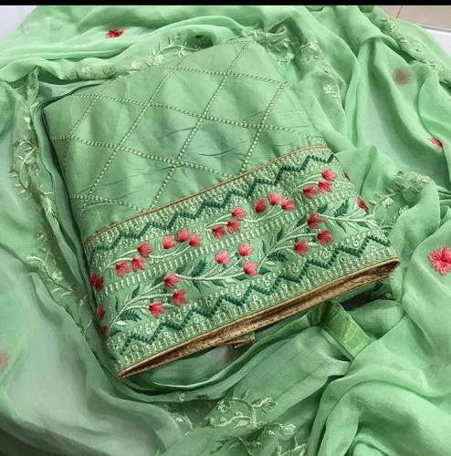Unique Pista Cotton Embroidered Work Salwar Suit For Women For Function