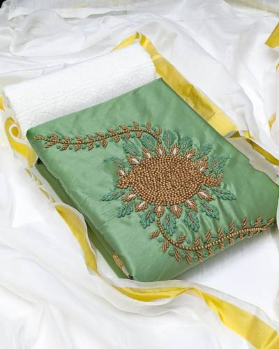 Beautiful Pista Green Jam Cotton With Hand Work Salwar Suit Design Online