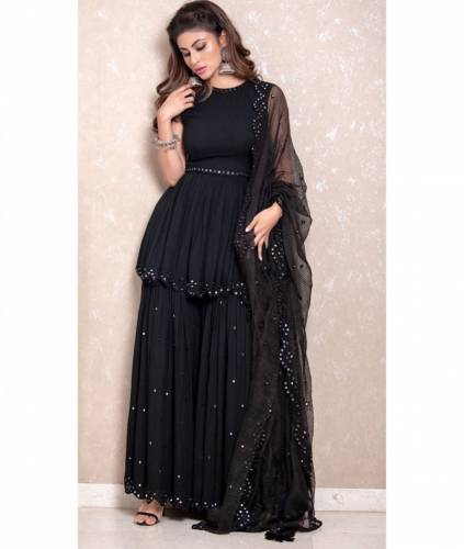 New Black Georgette Embroidered Mirror Work Palazzo & Kurti Design Online