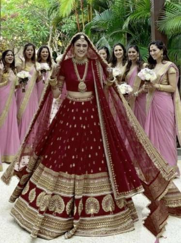 Maroon Velvet With Embroidered Stone Work Lehenga Choli-VF102A