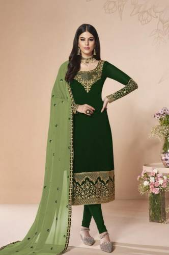 Classic Green Georgette Embroidered Work Salwar Suit Design Online