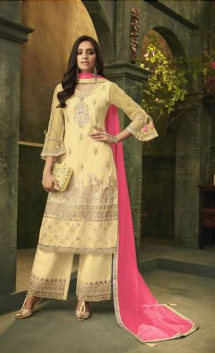 Yellow Net Embroidered Diamond Work Salwar Suit Design Online