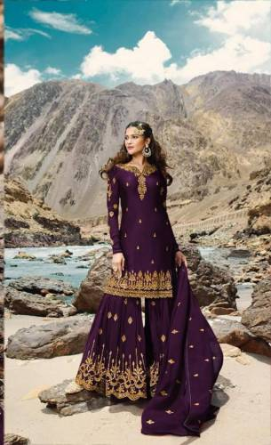 Beautiful Wine Colour Georgette Embroidered Work Sharara Salwar Suit Design For Women