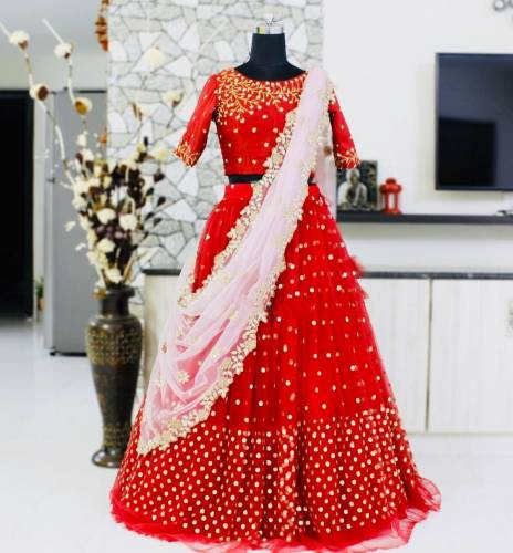 Classic Red Net Embroidered Sequence Work Lehenga Choli V Design Online