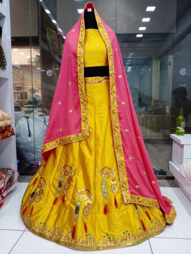 Dazzling Yellow Silk Satin With Embroidered Work Lehenga Choli-VT3062129A