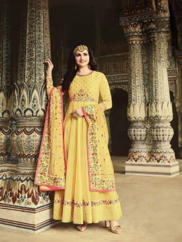 Beautiful Yellow Silk Embroidered Work Salwar Suit Design For Women
