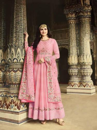 Alluring Pink Silk With Embroidered Diamond Work Salwar Suit-PavitraFashion106E