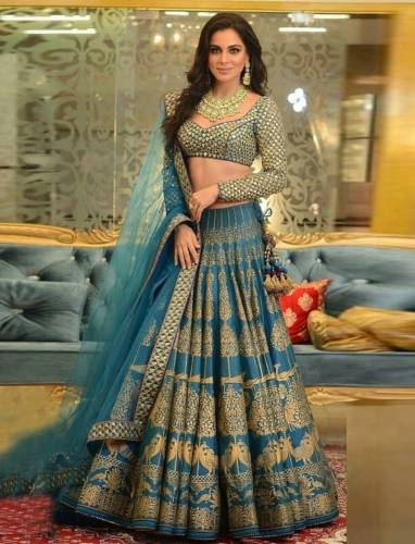 Amazing Sky Blue Silk With Zari Digital Print Lehenga Choli-PRAMUKH101A