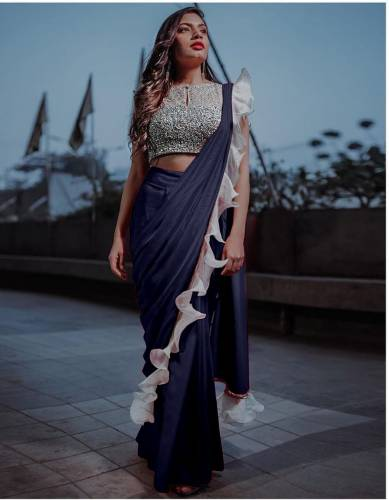 Beautiful Navy Blue Silk With Sequence Lace Ruffle Saree Design Online