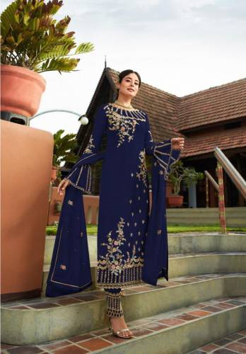Blue Georgette With Embroidered Work Plazo Salwar Suit Design For Women