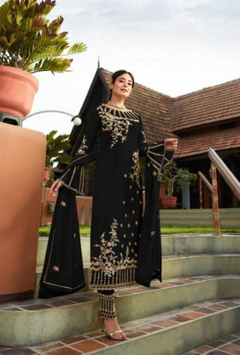 Black Georgette With Embroidered Work Plazo Salwar Suit Design For Women