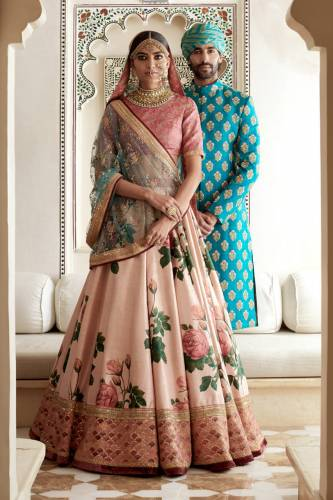 Aqua Blue Silk With Embroidered Sequence Work Lehenga Choli Design For Women