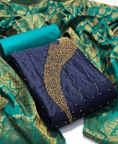 Adorning Navy Blue Cotton With Hand Work Salwar Suit For Women