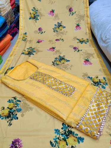Yellow Cotton Satin Leather Silver Suit Online