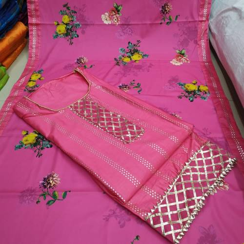 Beautiful Pink Satin Cotton Leather Silver Suit Online