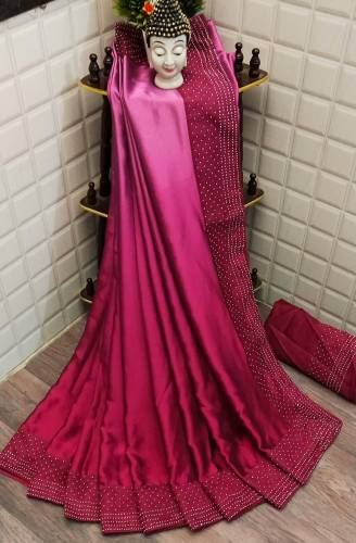 Rani Pink Satin Silk Rangoli Plain Saree Design Online
