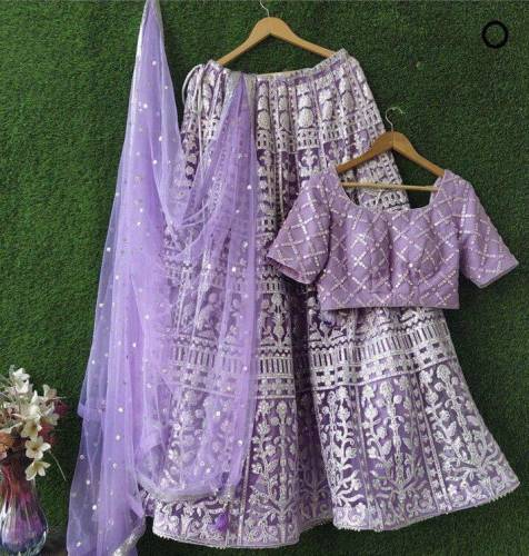 Beautiful Purple Designer Net Chine Stitch Lehenga Chol Design Online
