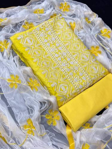 Yellow Cotton With Embroidered Suit Design Online