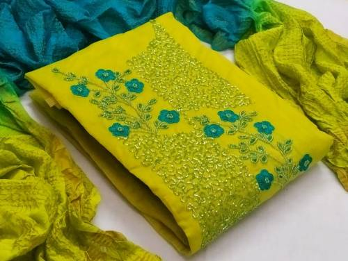 Beautiful Yellow Cotton With Hand Suit Design Online