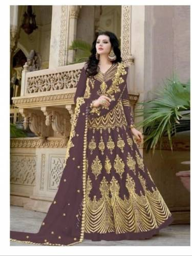 Alluring Brown Net With Embroidered Diamond Work Anarkali Salwar Suit-VT3129102B