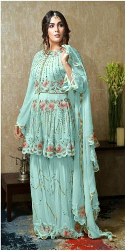 Classic Firozi Georgette Mirror Embroidered Work Salwar Suit
